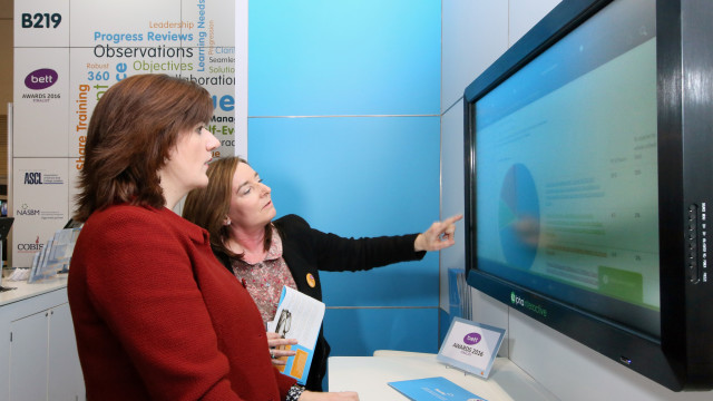 Bett Nicky Morgan at BlueSky stand Bett