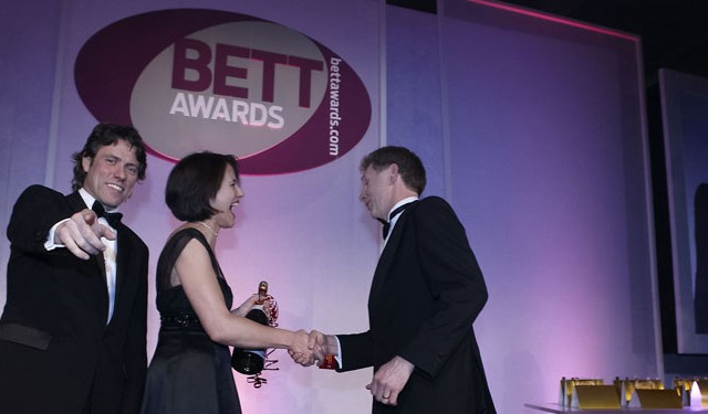 Accepting an award at BETT Awards